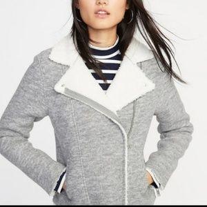 OLD NAVY Sherpa Lined Gray Moto Jacket L